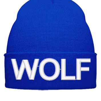wolf embroidery hat - Beanie Cuffed Knit Cap