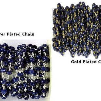 5 Feet, 10 Feet Blue Sapphire Chalcedony Silver & 24k Gold Plated 3.5-4mm Gemstone Faceted Beads, Wire Wrapped Chain,Rosary Beaded Chain