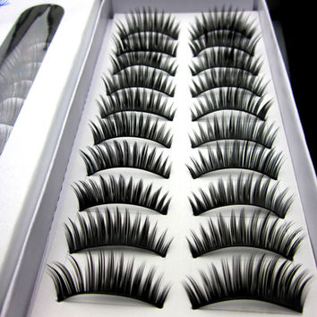 High Quality 20Pairs Handmade False Eyelashes Human Hair Winged False Eyelashes Free Shipping