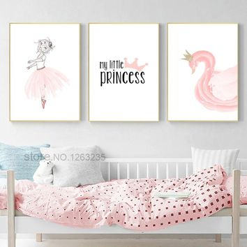 Pink Swan Kids Poster Girls Baby Girl Room Decor Posters And Prints Nordic Poster Meisjeskamer Wall Art Canvas Painting Unframed