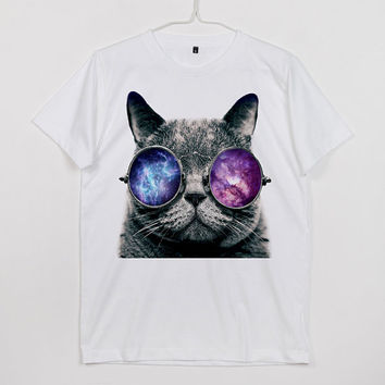 Cat With The Galaxy Stars Dust Space Spacecraft Glasses Funny Animals White, Gray, Dark Gray, Black Unisex T-Shirt