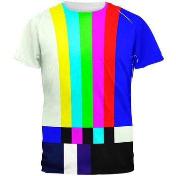 DCCKU3R Halloween SMPTE Color Bars Late Night TV Costume All Over Mens T Shirt