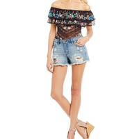 C&V Chelsea & Violet Floral Printed Mesh Ruffled Body Suit | Dillards