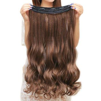 ONETOW Soowee 60cm Long Synthetic Hair Clip In Hair Extension Heat Resistant Hairpiece Natural Wavy Hair Piece