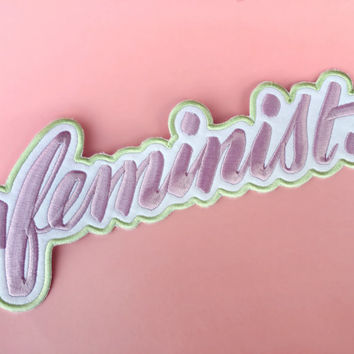 Big F, Little F feminist pastel embroidered patch — HUGE!