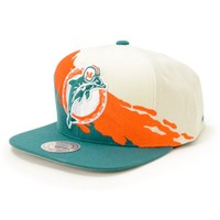 NFL Mitchell and Ness Dolphins Paintbrush Snapback Hat