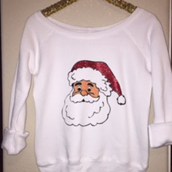 Santa Sweatshirt - Glitter - Christmas Sweatshirt - Ruffles with Love - Off the Shoulder Sweatshirt - Womens Clothing - RWL
