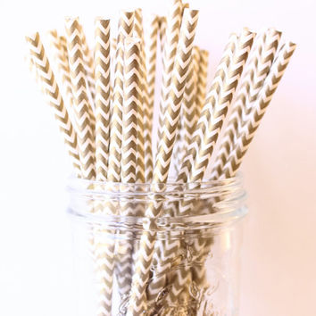 Gold Party Straws, Gold Paper Chevron Straws 25, Gold Wedding Decor, Metallic Gold Straw, Rustic Wedding, Party Straws, Paper Straw