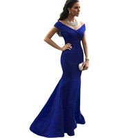 Robe De Soiree Hot Sell V-neck Floor Length Women Mermaid Royal Blue Long Evening Dress