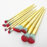 10 pcs RED TIP GOLD HANDLE MAKEUP BRUSH SET