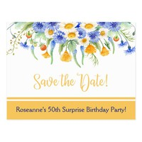 Blue Yellow White Wildflowers Save The Date Postcard