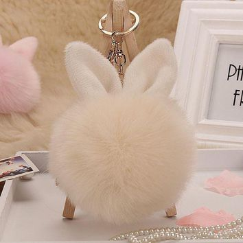 VONEFX8 11 Colors Good Quality Girl keyring key chain Pompon Fluffy Women Rabbit Ear Fur Ball Key Chain Rings Bag femme Pom Pom