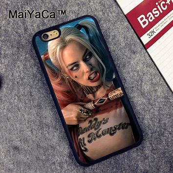 MaiYaCa Harley Quinn Suicide Squad Pattern Soft Rubber Phone Cases OEM For iPhone 6 6S Plus 7 8 Plus 5 5S SE X Cover Skin Shell