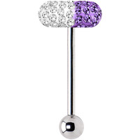 Clear Coat Tanzanite Ferido Crystal Pill Barbell Tongue Ring | Body Candy Body Jewelry