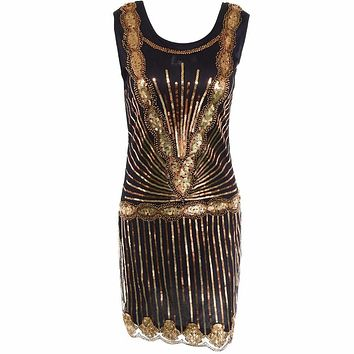 Women Vintage Inspired Shining Black Gold 1920s Beading Sequin Art Deco Gatsby Flapper Dress Sleeveless Holiday Party Dress