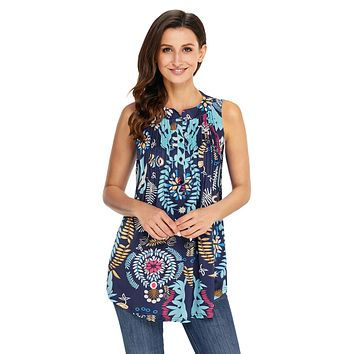 Z| Chicloth Multi Leafy Print Ruched Tank Top