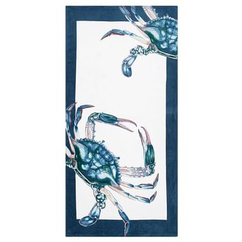 Crab Printed Beach Towel