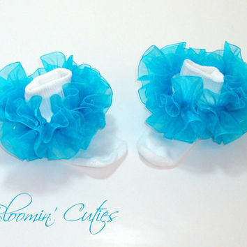 Little Miss Caribbean Blue Turquoise Aqua Organza Newborn Infant Toddlers and Girls SUPER RUFFLE SOCKS by Bloomin Cuties Boutique