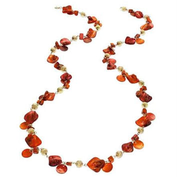 Style & Co Long Poppy Red & Beaded Gold-Tone Station Rope Necklace