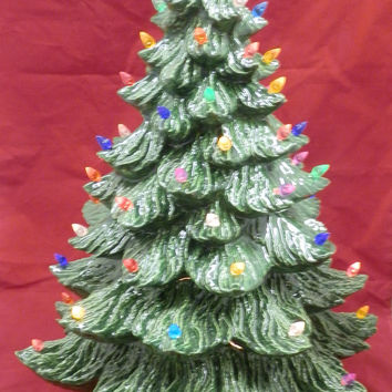"24"" Handpainted Green Glazed Lighted Ceramic Christmas Tree"