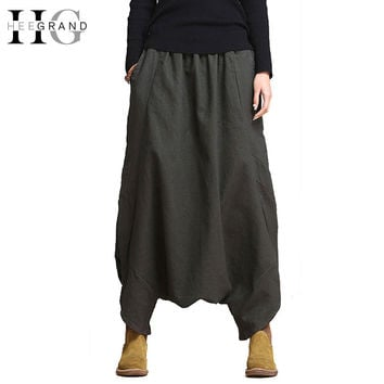 HEE GRAND 2016 Fashion Solid Loose Oversized Women Pants Elastic Waist Harem Pants Front Pleated Ankle-Length Pants WKX310