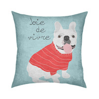 "Bulldog Joie de Vivre by Artist Ginger Oliphant 18""x18"" Artistic Throw Pillow"