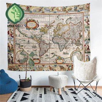 HELENGILI Home Furnishing Retro Map Tapestry Wall Hanging Sandy Beach Picnic Throw Rug Blanket Camping Tent Sleeping Pad