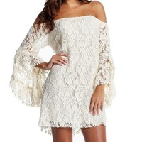 ANDI ROSE Ladies Lace Sexy Lingerie Long Sleeve Off Shoulder Clubwear Mini Dress