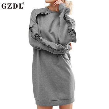 Hot Gray Women Autumn Winter Fashion Style Dress Long Sleeve O Neck Bodycon Stretch Nightclub Casual Mini Pencil Dresses CL3327