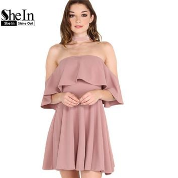 SheIn Autumn Dress Womens Sexy Party Night Club Dress Short Sleeve Women Fall Dresses 2016 Off The Shoulder Skater Dress