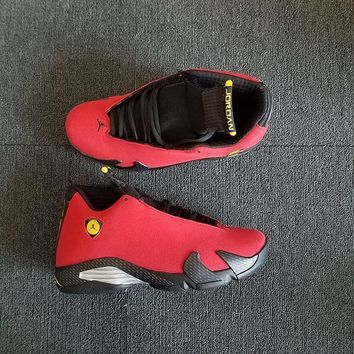 Air Jordan 14 Retro Ferrari Red/vibrant Yellow Anthracite Black Aj14 Sneakers