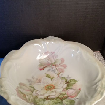 German Lusterware Bowl Porcelain Roses Green Hand Painted
