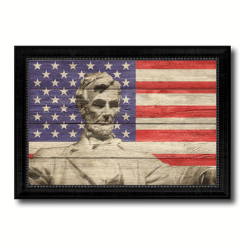 USA Abraham Lincoln Memorial American Flag Texture Canvas Print with Black Picture Frame Home Decor Man Cave Wall Art Collectible Decoration Artwork Gifts