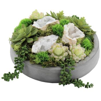 Succulents and Quartz in Concrete Bowl