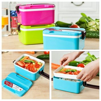 Microwaveable 2-Layer Plastic Student Multifunction Lunch Box Bento Food Picnic Container Bowl with Flip-up Handle