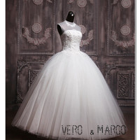 Sexy high collar open back beaded lace satin tulle  long ball gown wedding dress bridal gown ET149