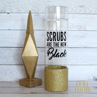 Scrubs Are The New Black // Glitter Dipped Water Bottle