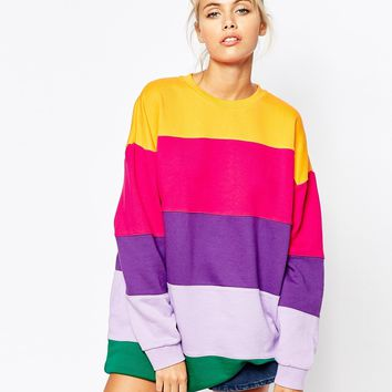 Lazy Oaf Oversized Sweatshirt In Rainbow Stripe