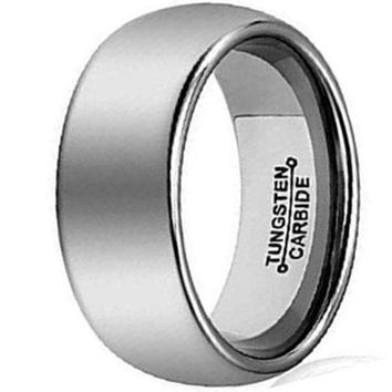CERTIFIED 8mm Silver Tungsten Carbide Ring Simple Style Wedding Jewelry Engagement Band High Polished