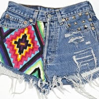 Vintage high waisted denim cutoff shorts with Aztec print on front