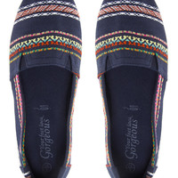New Look Memphis Navy Printed Slip On Plimsolls
