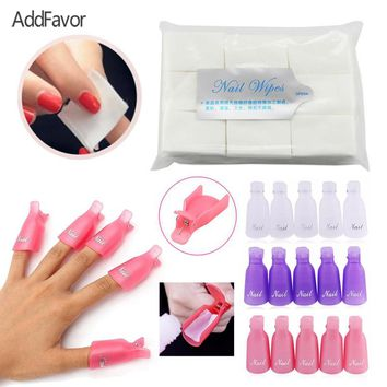 AddFavor Nail Tool Set 900pcs Nail Polish Remover Wipes Polish Removal Holder Clip DIY Beauty Art Makeup Removal Cotton Tissues