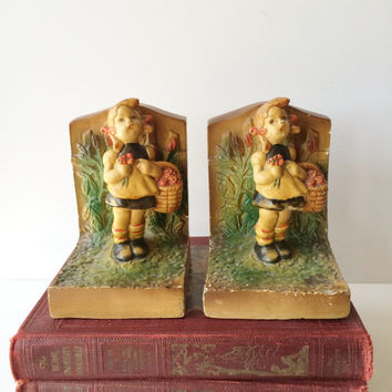 Vintage Chalkware Bookends Hummel Style Girl With Basket of Flowers Reproduction Nursery Playroom Decor