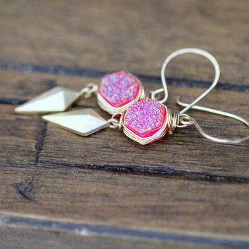Stiletto Hexagon Earrings - Sweet Pea