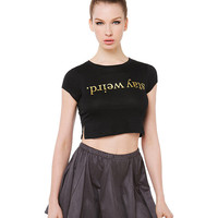 Black Graphic Print Short Sleeve Cropped Top