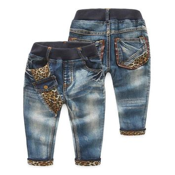 Spring/Autumn Leopard Patchwork Casual Boys Jeans Pants Kids Trousers Baby Toddlers Clothes New 2016 T1/2503DCO