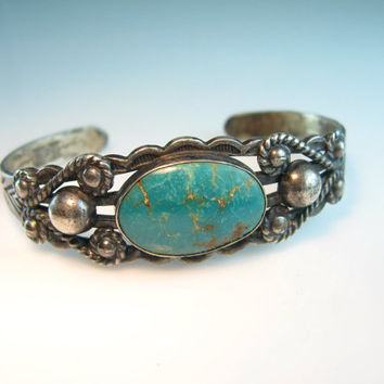 Navajo Bracelet Turquoise Sterling Silver Cuff Stamped Design Arrows Sunrise Mountains Vintage Old Pawn
