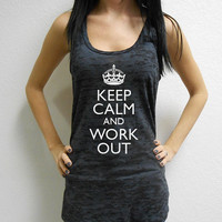 Keep-Calm-and-work-out. BURNOUT racerback tank. Running Tank Top. Workout Burnout Tank Top. Crossfit Tank Top. Cross Training Tank. Gym Tank