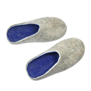 Unisex Wool Clogs Grey Blue, Organic Felt Slipper, 7 Colors Rubber Soles, Indoor Outdoor, Natural Organic Felt Shoes, Colour Blocking