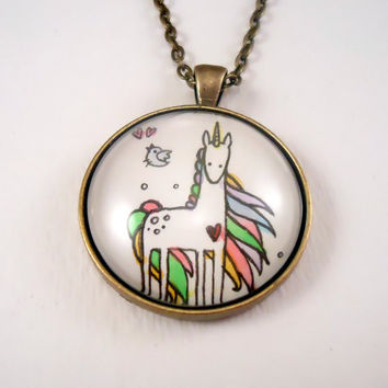Unicorn Art Pendant With Matching Bird Earrings  by cellsdividing